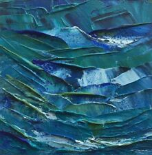 "BLUE GREEN NIGHT SEA Original Acrylic Seascape Painting 6""x6"" Julia Garcia NEW"