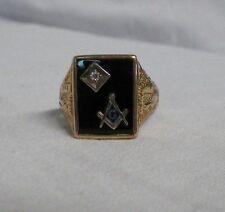 10K Gold Masonic Ring Mason Compass Black Size 11 Diamond