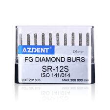 Azdent Dental High Speed Diamond Burs Straightcylindrical Round Head Sr 12s