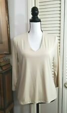 Linda Leal Women's Stretchy Athleisure Top Light Tan V Neck 3/4 Sleeve Sz M