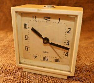"""Vintage Alarm Clock """"LANTAZ"""" Made in USSR Vintage Soviet Mechanical 4 JEWELS #82"""