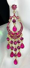 """Gorgeous! 4"""" Pink Chandelier Crystal Earrings, Drag Queen, Pageant, Prom, Bridal"""