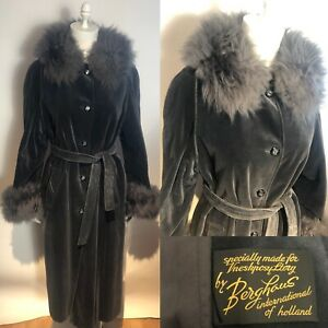 Vtg 1970s  Grey Velvet Storm Coat W/ Fur