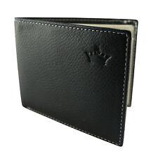 Premium Homme Porte-feuille Noir Crème faux Cuir ID 6 Card Slot- Fin Trois