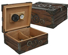 STEAMPUNK Cigar HUMIDOR with Hygrometer and Humidifier - 50 Cigars