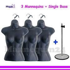 3 Pcs Black Mannequin Female Torsos + 1 Stand + 3 Hangers -Women'S Dress Forms