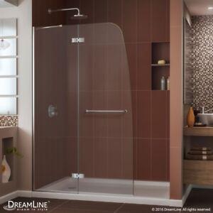 "AQUA ULTRA Hinged Shower Door 45 x 72. 5/16"" Clear glass. Chrome finish."