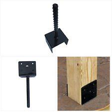 New listing Mtb U Shape Fence Post Holder Ground Spike Post Anchor Metal Black Powder Coated
