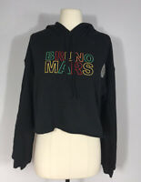 Bella Canvas Black Bruno Mars Rasta Embroidered Cropped Hoodie Women's M
