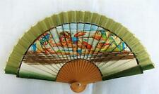 VINTAGE 1940's CHILDREN'S PRINTED WOOD HAND FAN - BOY SCUBA DIVING