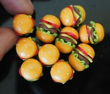 10 Cheese Hamburgers Dollhouse Miniatures Handmade from Clay Food Art Supply