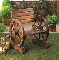 rustic wood wooden WAGON WHEEL outdoor garden patio furniture CHAIR country Yard