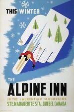 Vintage Ski Poster Alpine Inn Quebec Canada 13 x 19 Giclee print