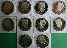 1990 thru 1999 PROOF Kennedy Half Dollar Collection 10 Coin Lot 50 Cents