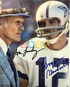 Tom Landry & Roger Staubach Signed 8x10 Photo HOF Dallas Cowboys SB MVP Heisman