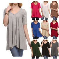 Women's V-Neck A-Line Tunic Short Sleeve Loose Top T-Shirt Plus Loose Blouse Top