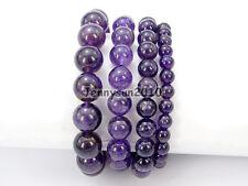 Handmade Natural Amethyst Gemstone Round Beads Stretchy Bracelet Healing Reiki