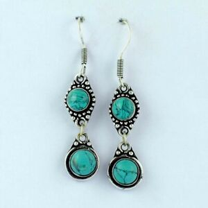 GREEN  TURQUOISE Silver Plated Handmade Gemstones Earrings FCA156