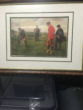 Golf Print Double Matted Wood And Glass frame.  Ready To Hang