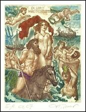 David Bekker Exlibris C4 Mythology Aphrodite Erotic Nude Horse Angel Sailing 123