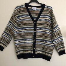 Katies Knit Cardigan 12 Long Sleeve Stripe Button Down Cardigan EC
