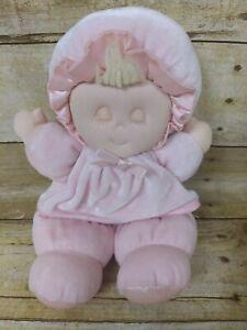 "Vtg Eden Pink Doll 10"" Plush Sleep Eyes Closed Velour Satin Baby Emblem Blonde"