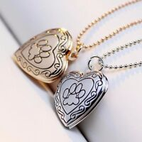 Memory Locket Necklace Silver Gold Pet Cat Dog Paw Footprint Necklace Jewelry