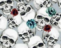 100% Cotton Digital Fabric Skeleton Skulls Head Roses Gothic Watercolour Spooky