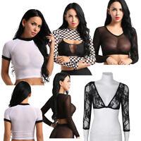 Women Sheer Mesh Plaid Crop Top Shirt Long Sleeve Vests Blouse Shrug Bolero Tops