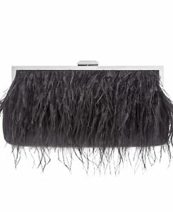 INC International Concepts Womens Carolyn Feather Pouch Clutch Black One Size