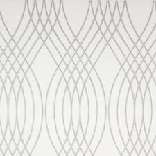 Wallpaper Designer Large Silver Glitter Wave Trellis on Eggshell White