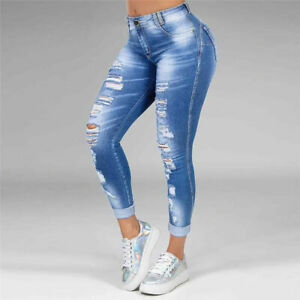 Women Stretchy Skinny Denim Jeans High Waisted Slim Jeggings Ripped Pants S-6XL