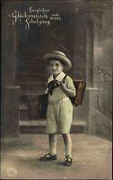 Gratulation ~1925 Schulgang Schule Junge 1. Schultag Kind mit Schultüte School
