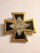 Vintage Swarovski Gold Tone Clear Rhinestone Black Enamel Cross Pendant Pin K321