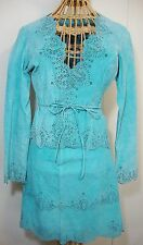 Turquoise Suede Leather Jacket and Mini Skirt Set Womens 4