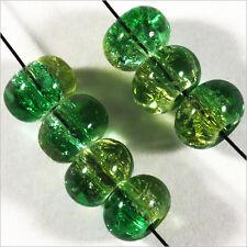 30 perles craquelées Rondelles en verre 8 x 5 mm Vert Jaune