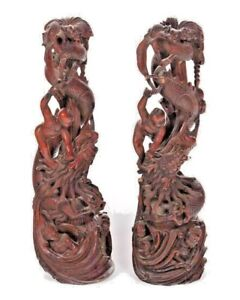 """Pair Antique Chinese Wood Carving Architectural Carved Statue Dragon 19th 20"""""""