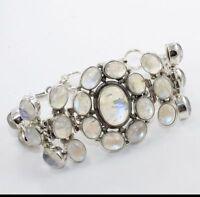 925 Sterling Silver Natural Rainbow Moonstone Gemstone Bracelet