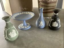 Wedgewood Pottery Lot - 3 Small Vases & 1 Candy Dish - Made In England