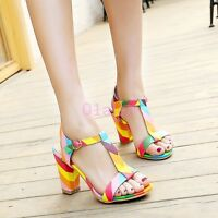 Ladies Women's High Block Heel Ankle T Strap Open Toe Sandals Dress Court Shoes