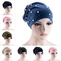 UK Ladies Beads Turban Hat Muslim Cancer Chemo Hair Cap Women Hijab Head Scarf