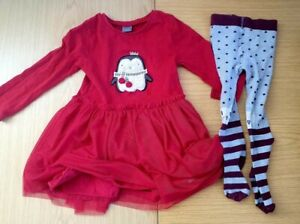 Next Girls Red Dress and and Cat's Tights Size 2/3