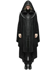Devil Fashion Mens Hooded Cloak Coat Long Black Goth Dieselpunk Apocalyptic LARP