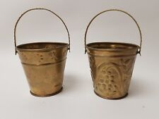 """Brass Pail Bucket lot of 2  with handles covered with grapes leaves 2"""" set"""
