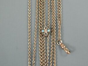 Antique Victorian Rose Gold Filled Opal Seed Pearl Watch Slide Chain Necklace