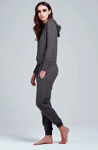 William Sharp 100% cashmere Jumpsuit with hood. Dark Grey, new with tags and box