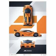 Unique & Limited Poster McLaren F1 LM Papaya Orange Three View 50 x 70 cm
