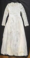 ! oferta! estilo floral de crochet sin marca Auto pesado Encaje Vestido Blanco Talla M Retrato