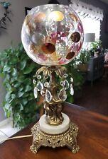 Vintage Bohemian coin dot lamp  Crystal prisms brass cherubs