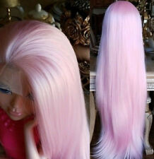 """24"""" Long Straight Heat Safe Fiber Hair Full Head White Pink Lace Front Wig"""
